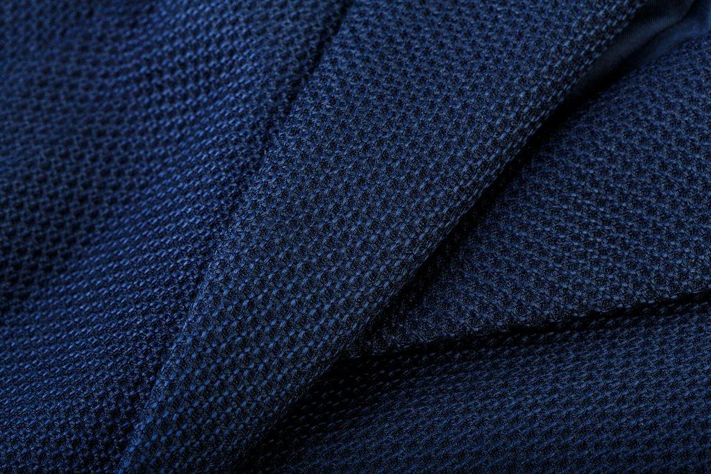 Closeup of Cotton Navy Blue Pique Fabric