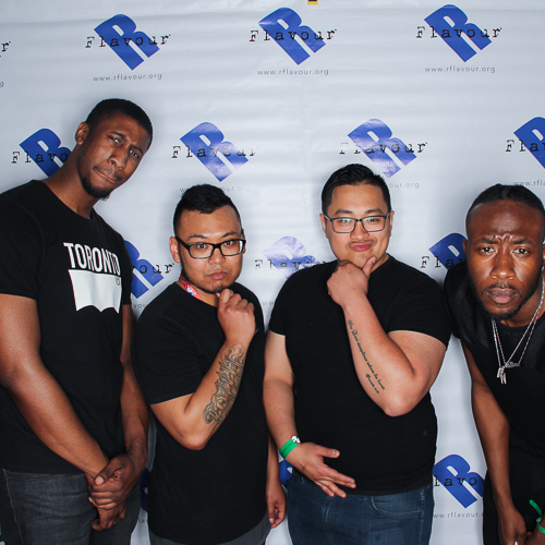 4 cool guys posing at the event photo booth