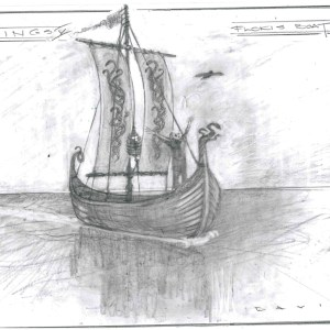 Lot #50 – Vikings Production Used Concept Art Floki's Boat For Departure To Iceland & Helga's Death Ss 4 & 5