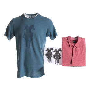Lot #60 – Bill & Ted Face The Music (2020) Production Used Ted's Shirt & Bill's Shirt W/ Concept Art Graphics