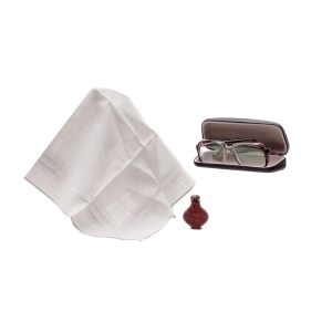 Lot #82 – Respect CL Franklin Forest Whitaker Production Used Handkerchief Glasses W/ Case & Vial