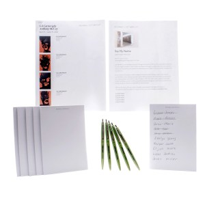 Lot #76 – Candyman Brianna Cartwright Teyonah Parris Production Used Notepads Pens & Gallery Art Guide Set