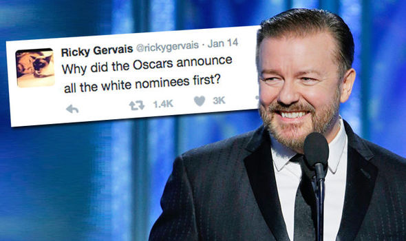 Ricky Gervais calls out the Oscars in a Twitter race rant