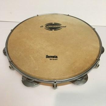 O Profissional 10″ Pandeiro, wood shell, skin head, round rim, steel platinelas