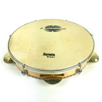 O Profissional 10″ Pandeiro, wood shell, skin head, flat rim, brass platinelas