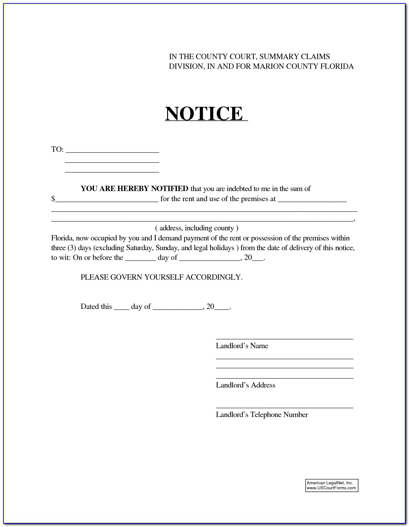 3 Day Eviction Notice Florida Form