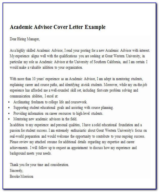 Academic Advisor Cover Letter Example