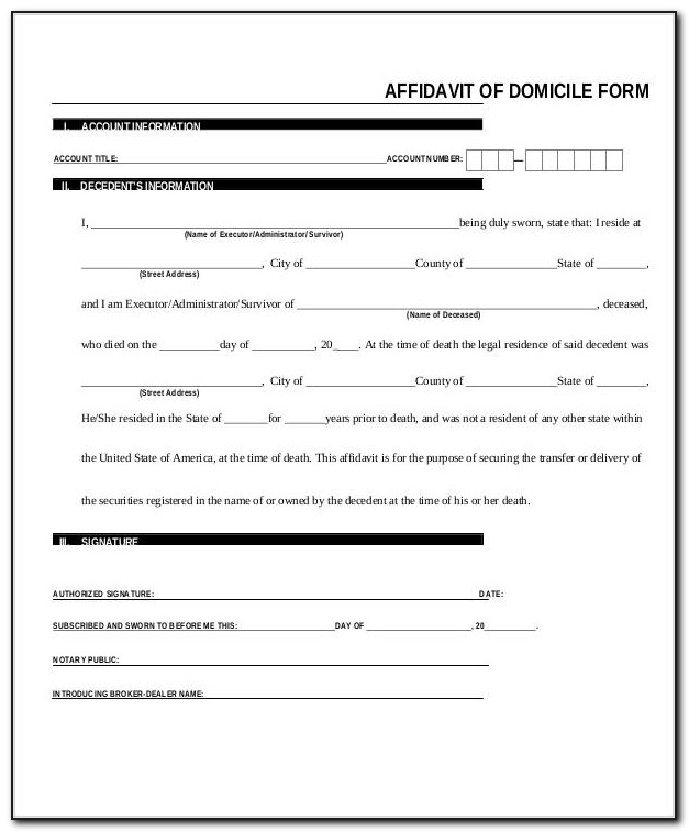 Affidavit Of Domicile Form Computershare