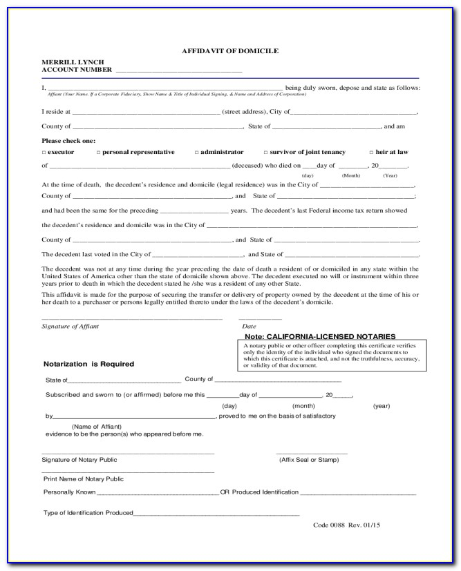 Affidavit Of Domicile Form Florida