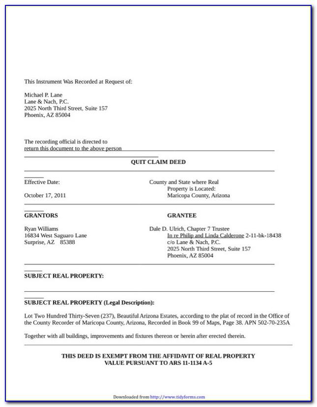 Arizona Quit Claim Deed Form Pinal County