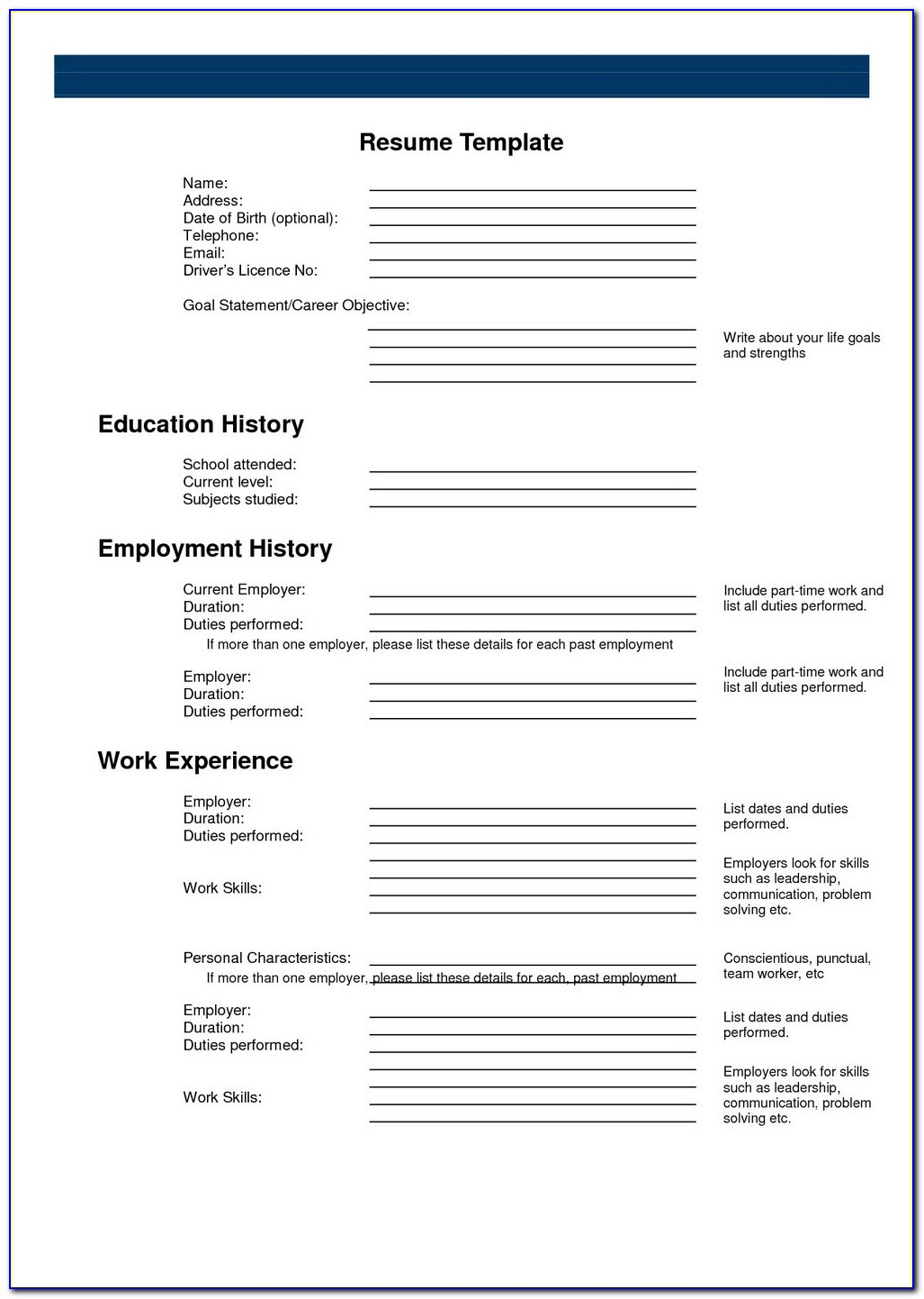 Blank Resume Form Download