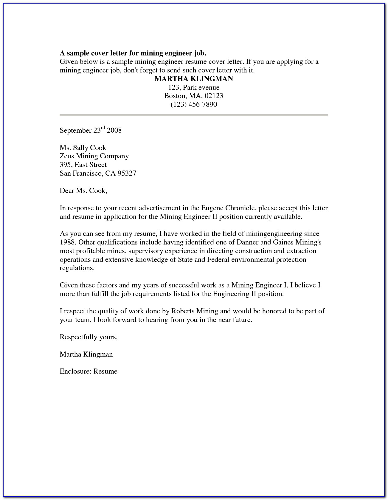Sample Cover Letters For Employment Sample Cover Letter For ...