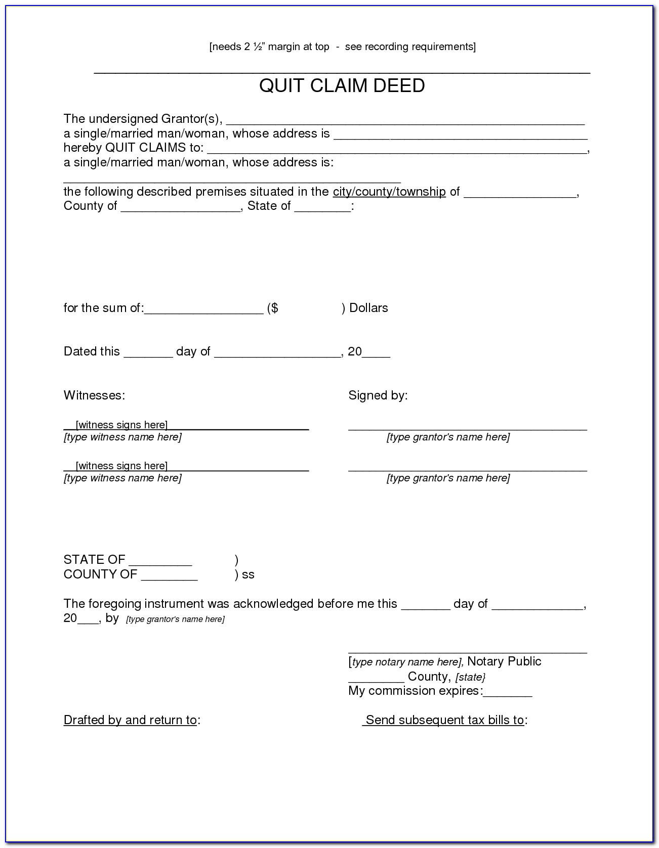 Colorado Joint Tenancy Quit Claim Deed Form