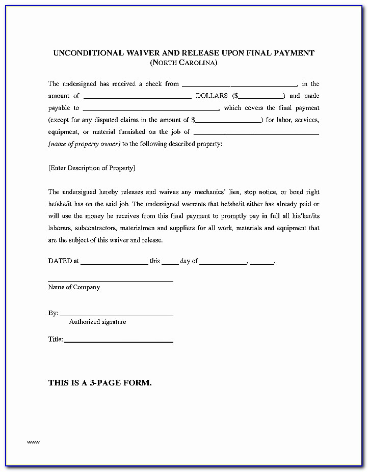 Lien Waiver Form Nc Beautiful Letter Intent Awesome Intent To Lien Letter Template Texas