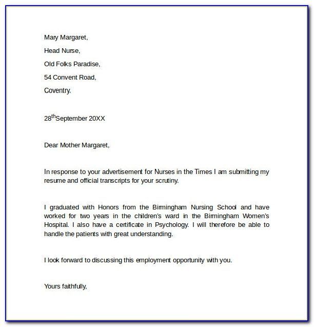 Cover Letter For Job Template Word