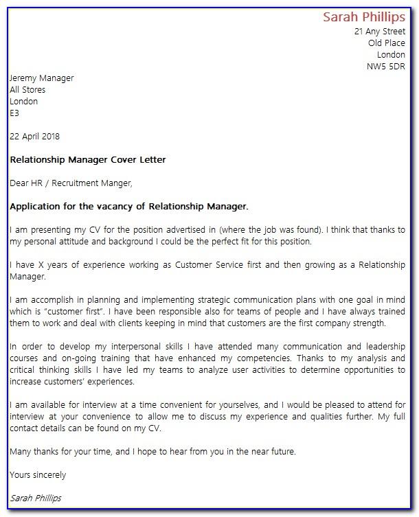 Customer Relationship Manager Cover Letter - Cover Letter ...