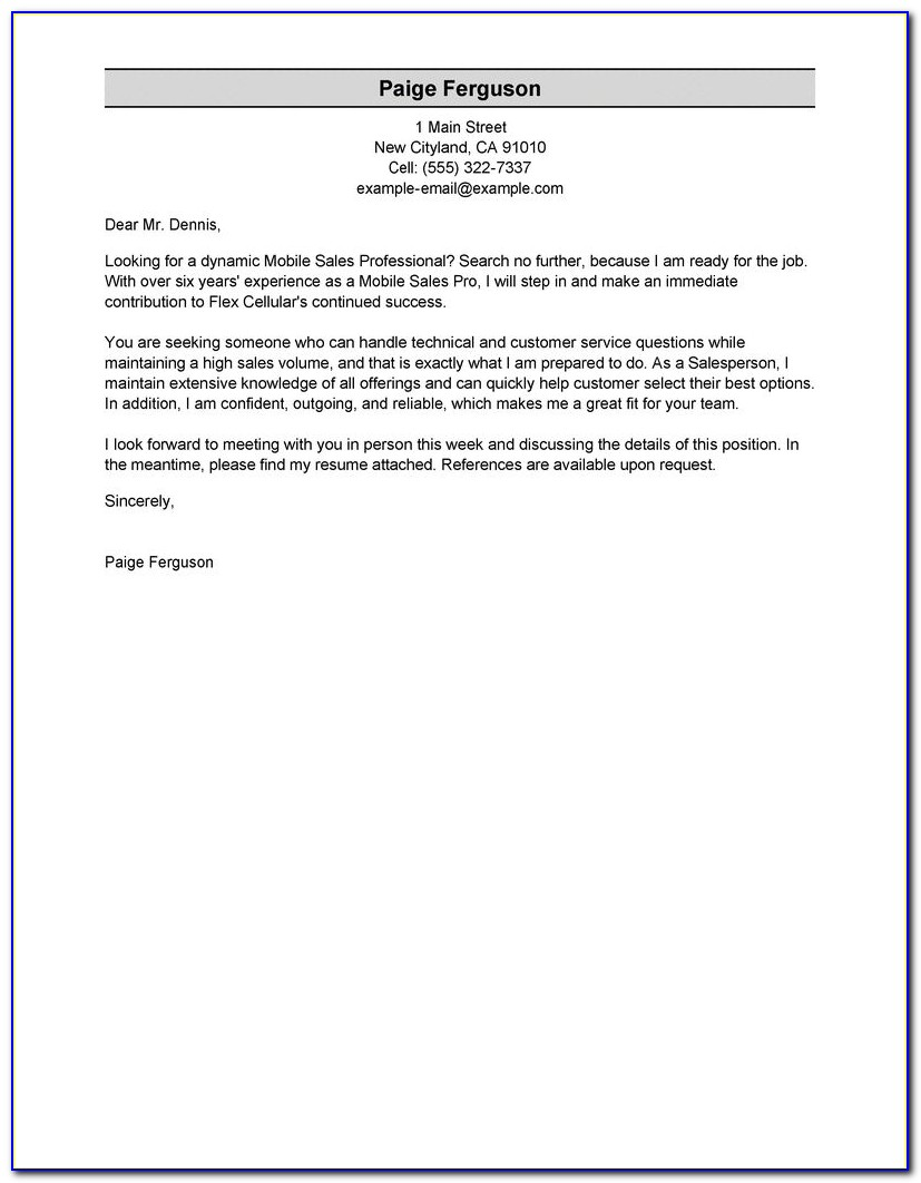 Example Resumes And Cover Letters