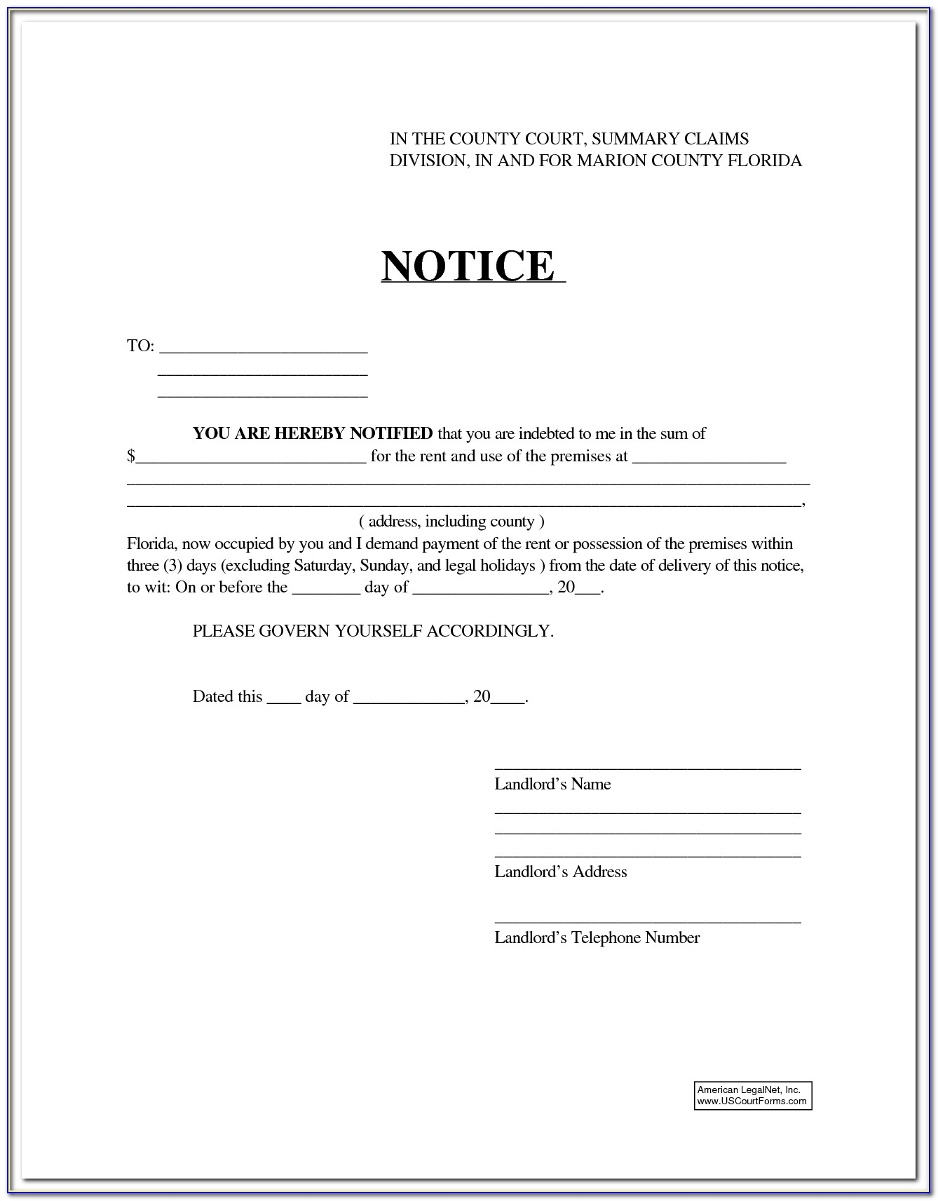 Florida 3 Day Eviction Notice Form