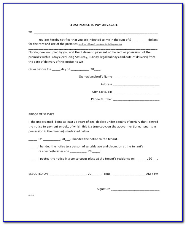 Florida 30 Day Eviction Notice Form