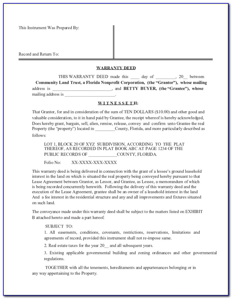 Florida Limited Warranty Deed Form
