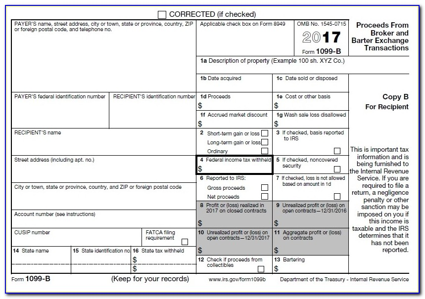 Free 1099 Misc Form 2017 Template