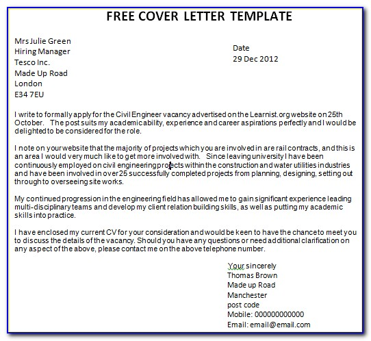 Free Cover Letter Download Templates