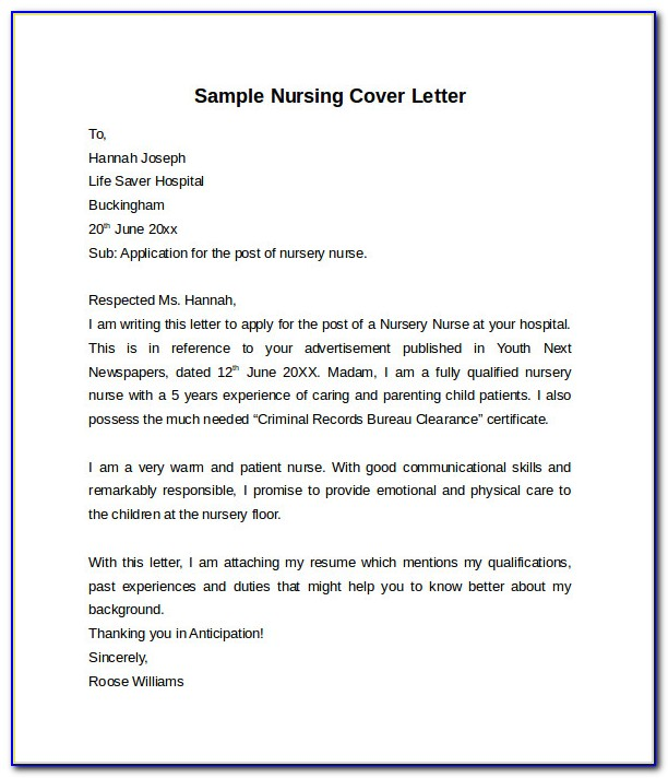 Free Cover Letter Examples For Nursing Assistant