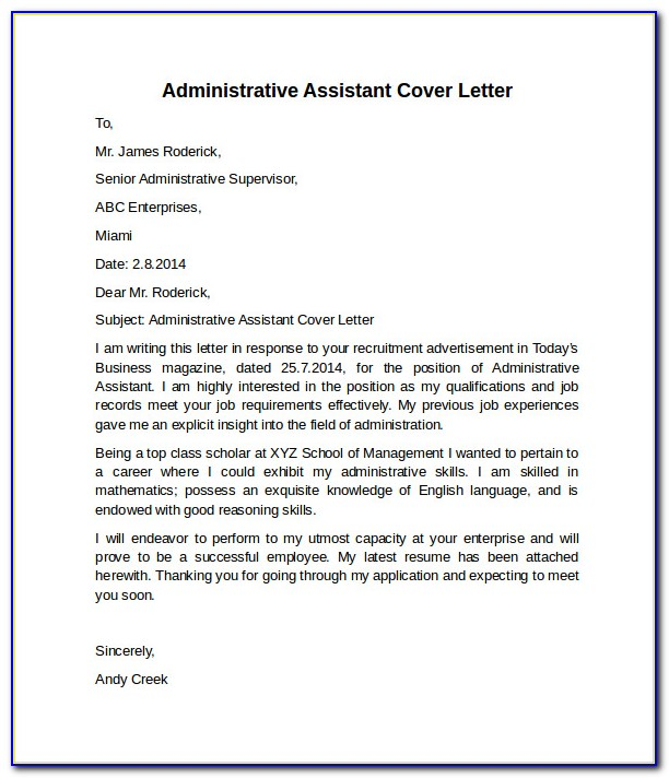 Free Sample Resume Cover Letter Administrative Assistant ...