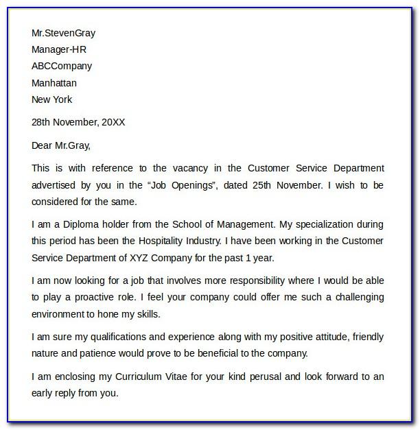 Sample Customer Service Cover Letters - Deamor.lovetea.co