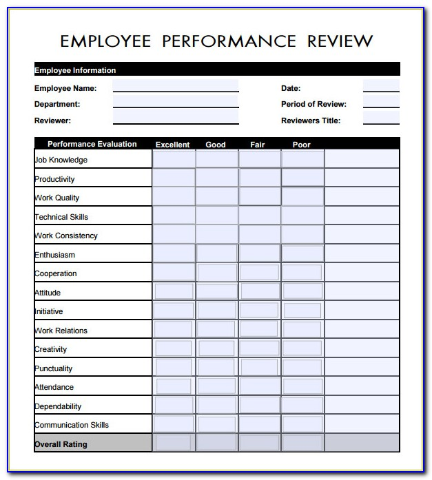 Free Employee Evaluation Forms Templates