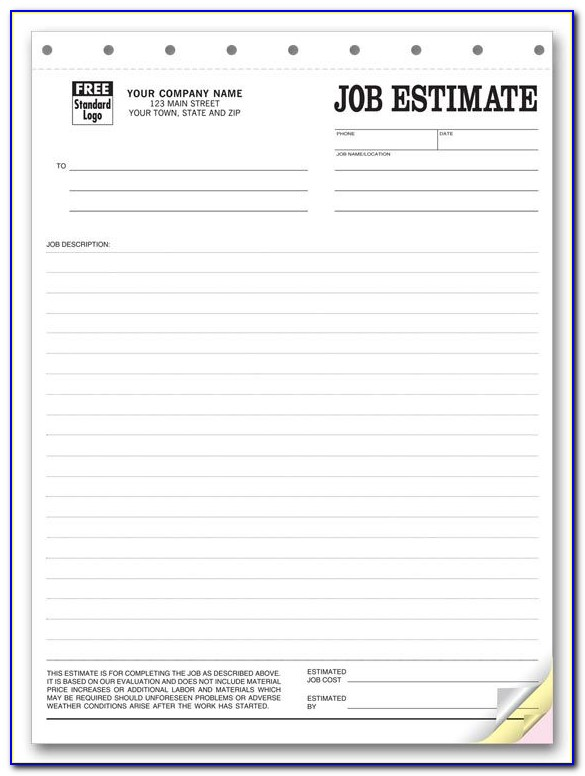Free Estimate Forms For House Cleaning