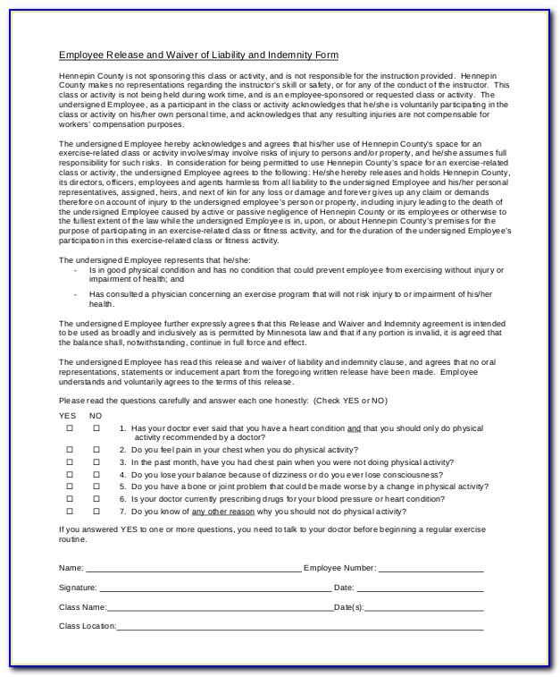 Free Liability Waiver Form California