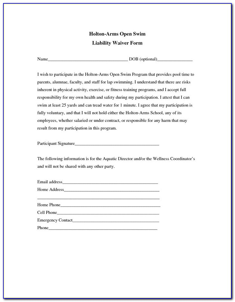 Free Liability Waiver Form Pdf