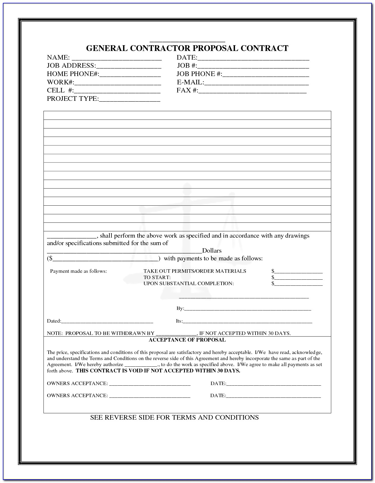 Free Painting Contractor Proposal Form