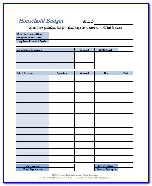 Free Printable Weekly Budget Forms