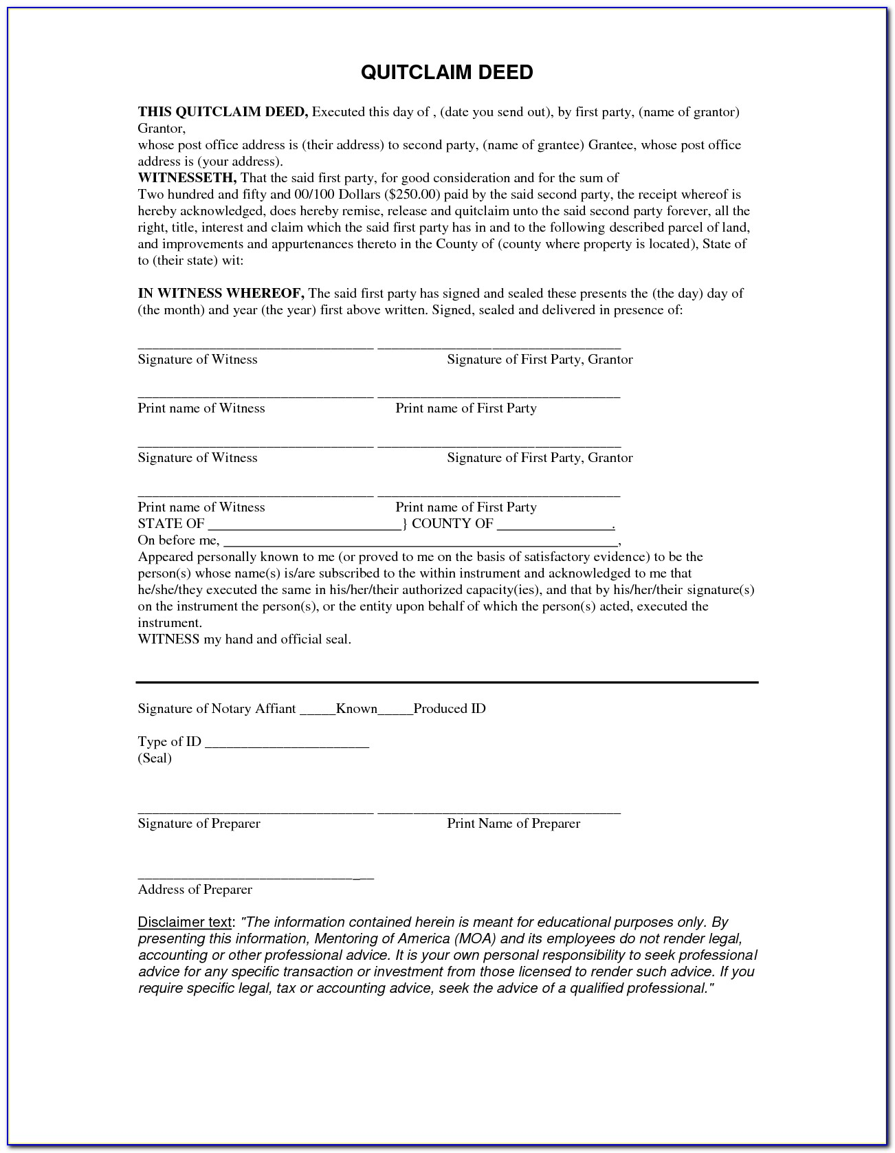 Free Quitclaim Deed Form Florida