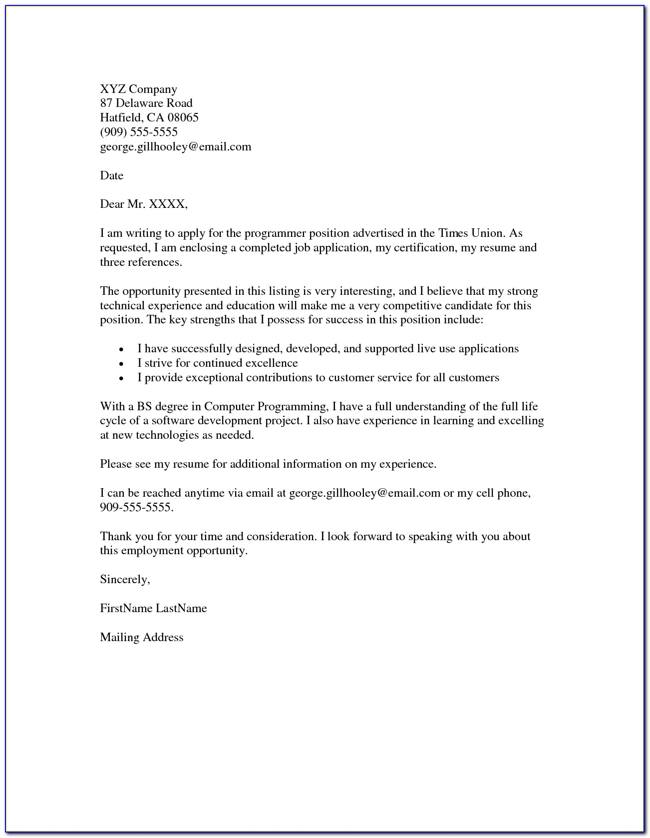 Free Template For Cover Letter For Job Application