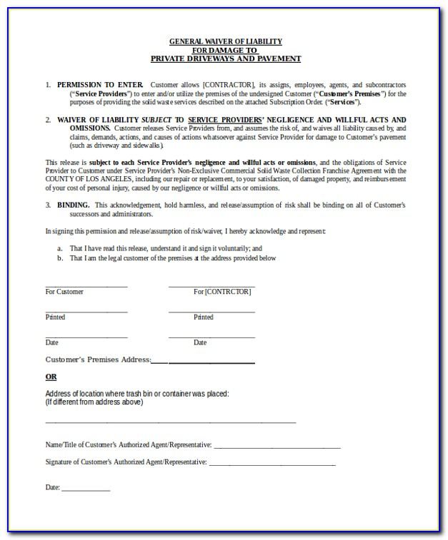 General Liability Waiver Form Free