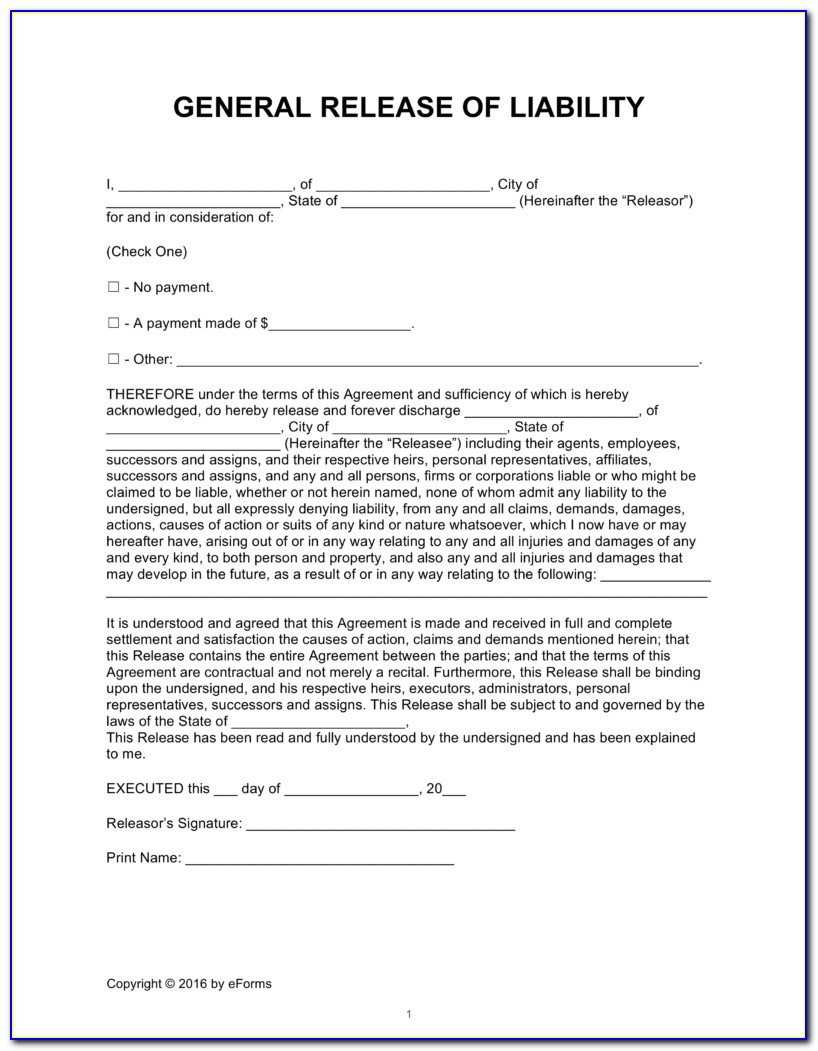 General Liability Waiver Of Subrogation Form