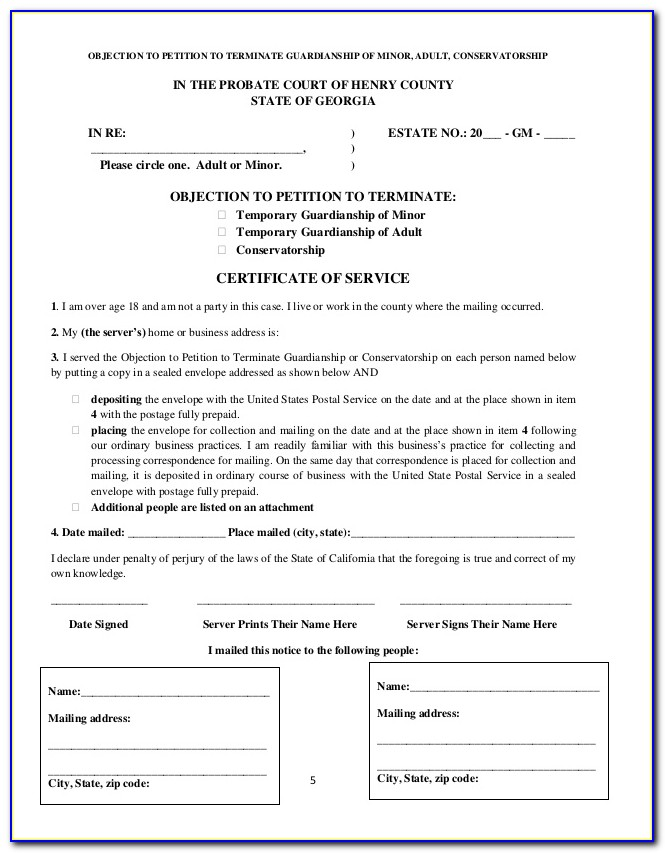 Georgia Probate Guardianship Forms