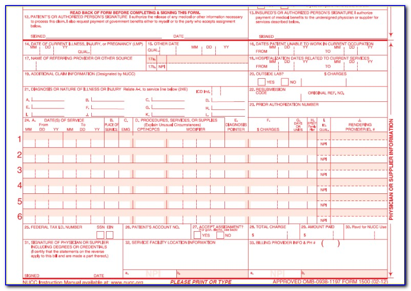 Hcfa 1500 Claim Form Template Download