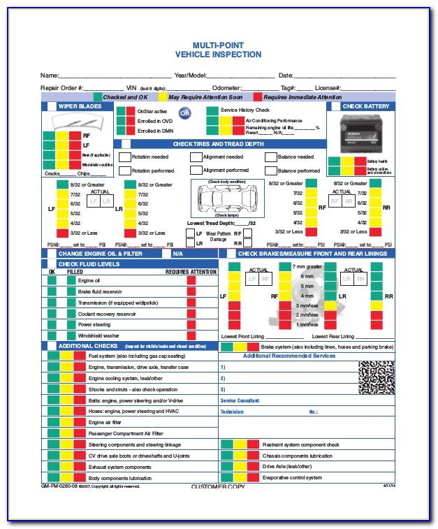 Hyundai Multi Point Inspection Form