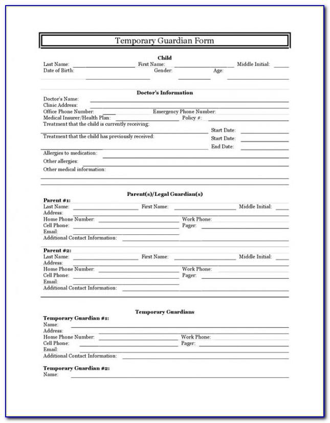 Indiana Temporary Guardianship Forms