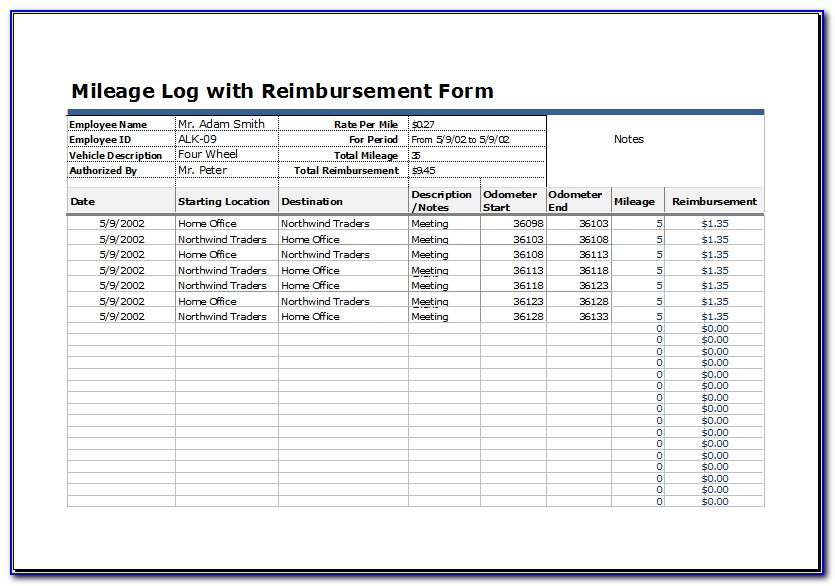Irs Mileage Allowance >> Business Mileage Log Book Template Form Resume Examples