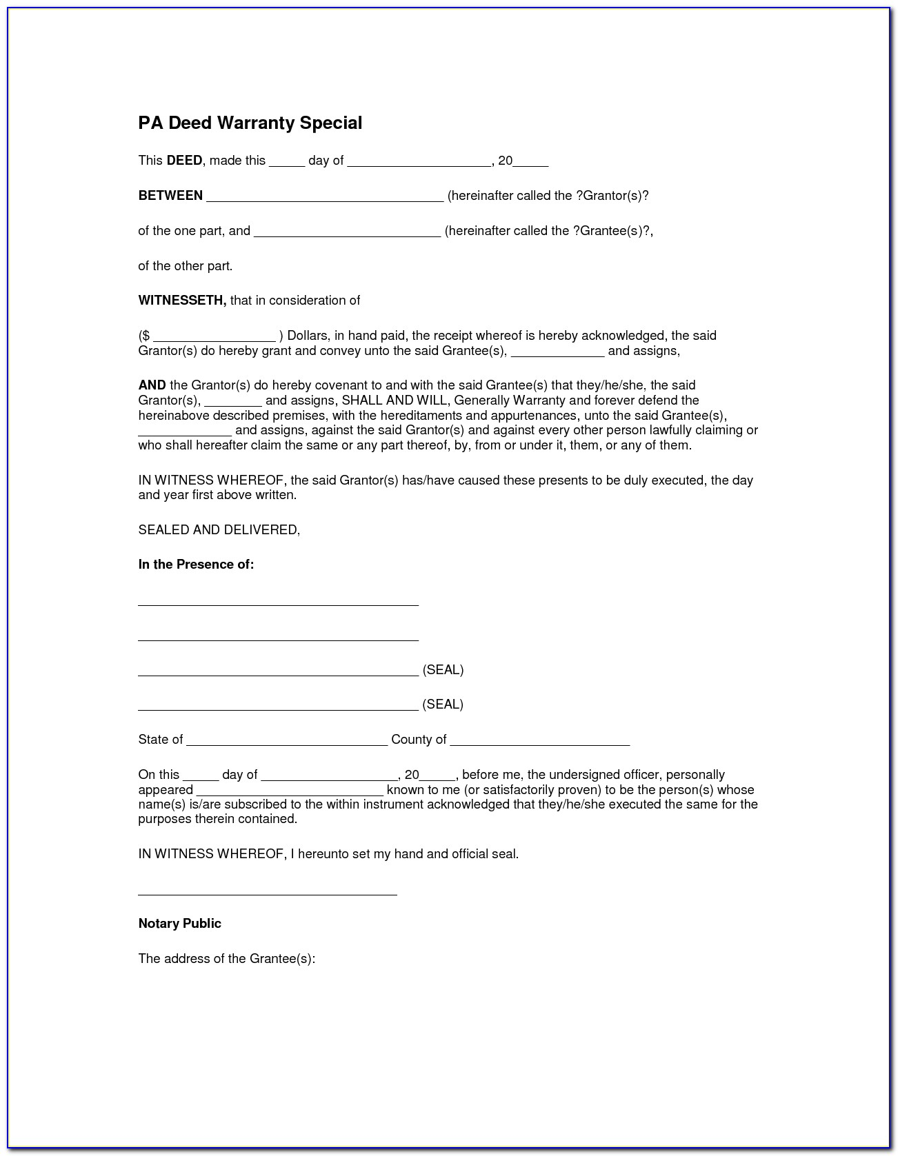 Lee County Florida Warranty Deed Form