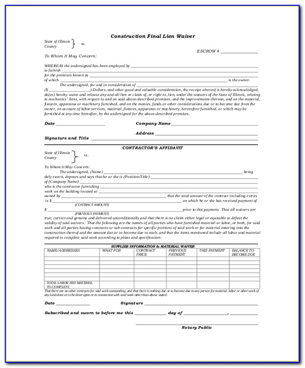 Lien Waiver Form Mo