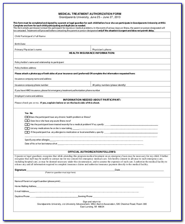 Medical Authorization Release Form For Grandparents - Form ... on