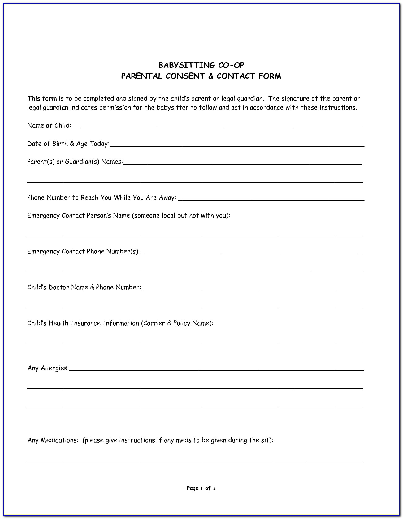 Medical Consent Form For Babysitter Printable