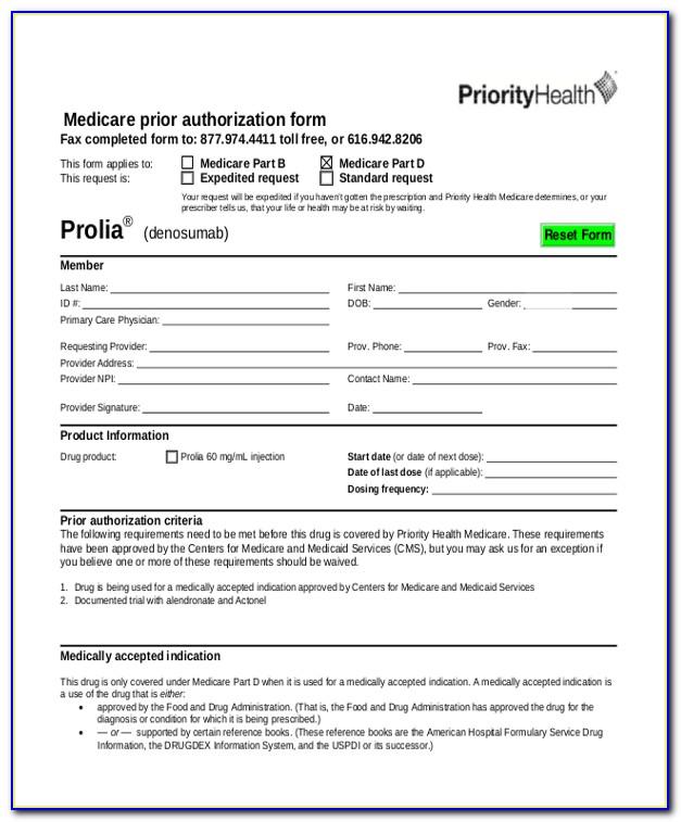 Medicare Prior Auth Form Pdf