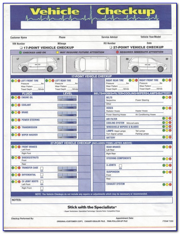 Multi Point Inspection Form Free